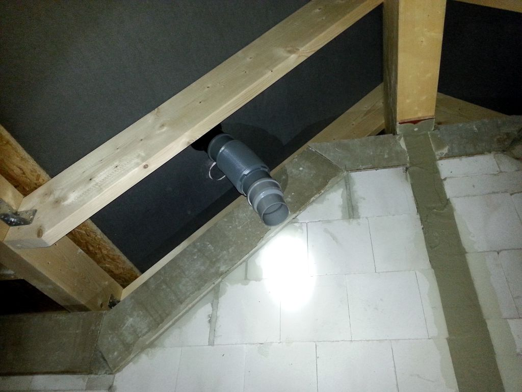 Stahlstütze, umlaufende Betonschale, Dachentlüftung